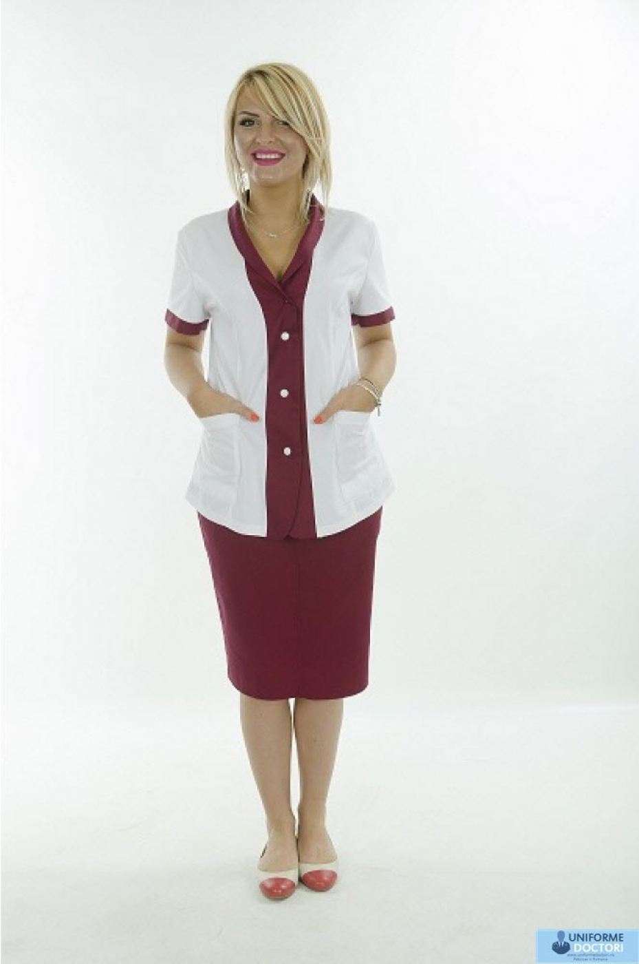 Uniforme medicale - Halat medical cu guler sal, maneca scurta, model bicolor